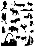 Collection of silhouettes of the Central part United States of America Stock Images