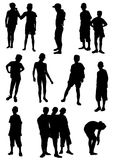 Collection of silhouettes of children Stock Photos