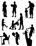 Collection of silhouettes of children and people on walk. On a white background Vector Illustration