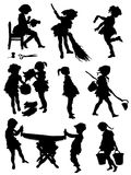 Collection of silhouettes of children taken with work. On a white background Stock Illustration