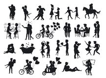 Collection of silhouettes couples in love on date. Man woman hug, kiss embrace, dance, ride bike tandem bicycle, horse riding, take selfie, eat drink in bar royalty free illustration