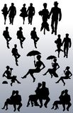 Collection of silhouettes of couples of people vector illustration