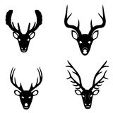 Collection of silhouettes of deer heads Stock Images