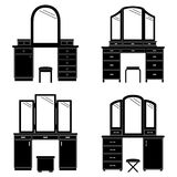 Collection of silhouettes of a dressing table, vector illustrati. Set of black silhouettes of a dressing table, vector illustration Stock Photos