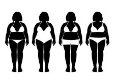 Collection of silhouettes of fat woman in bathing suits ,Vector illustrations Stock Photo