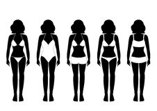 Collection of silhouettes of girls in bathing suits ,Vector illustrations Stock Photography