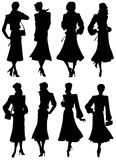 A collection of silhouettes girls models Royalty Free Stock Images