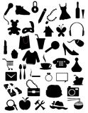 Collection of silhouettes items Stock Image