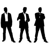 Collection of  silhouettes of men in suite Stock Photos