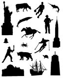 Collection of silhouettes of the North East United States of America. On a white background Vector Illustration
