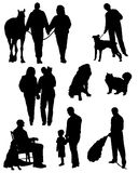Collection of silhouettes of people with animals and married couples Royalty Free Stock Image