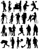 A collection of silhouettes of people from different professions Royalty Free Stock Photos