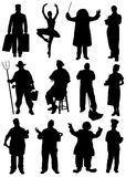 Collection of silhouettes of people of different professions Stock Images
