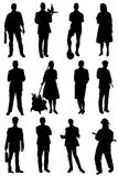 Collection of silhouettes of people of different specialty. On a white background Stock Illustration