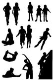 Collection of silhouettes of people of leaders active way of life Royalty Free Stock Photos
