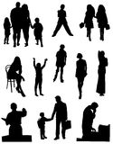 Collection of silhouettes of people Stock Image