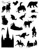 Collection of silhouettes of the South of the United States of America. On a white background Royalty Free Illustration