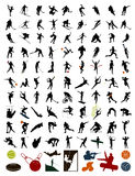 Collection of silhouettes of sportsmen. 100 silhouettes of sportsmen and stock. A illustration stock illustration