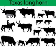 Texas longhorn cattle silhouettes Royalty Free Stock Photos