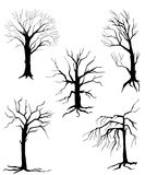 Collection of silhouettes of trees, Royalty Free Stock Photography