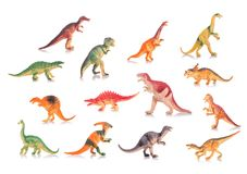 Collection of silicone or plastic toy dinosaurs. Studio shot and Stock Image