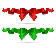 Collection of Silk Realistic Bows with Ribbons. Good for Greetin Royalty Free Stock Photo
