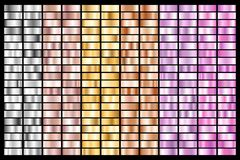 Collection of silver, chrome, gold, rose gold. bronze metallic and ultraviolet gradient. Vector illustration vector illustration