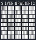 Collection of silver, chrome metallic gradient. Brilliant plates with silver effect. Vector illustration.  royalty free illustration