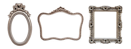 Collection of 3 silver frames Royalty Free Stock Photo