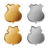 Collection of silver and golden shields Royalty Free Stock Images