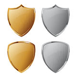 Collection of silver and golden shields Stock Photo