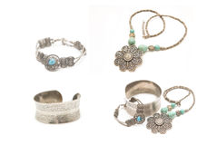 Collection of silver jewelery Royalty Free Stock Photos