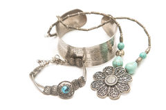 Collection of silver jewelry Royalty Free Stock Photo