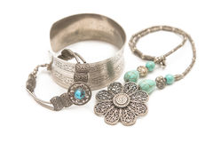 Collection of silver jewelry Stock Photos