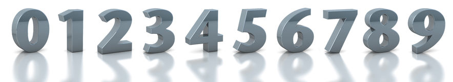 Collection silver numbers Stock Photo