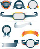 Collection of silver and orange modern flat badges Stock Image