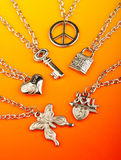 Collection of silver pendants Stock Photos