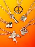 Collection of silver pendants Stock Photos