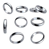 Collection of silver wedding rings  isolated. On white background Royalty Free Stock Photo