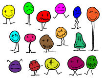 Collection of simple cartoon figures with many face expressions Stock Image
