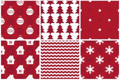 Collection of simple Christmas patterns. Royalty Free Stock Image