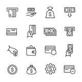 Collection simple d'encaisser la ligne relative icônes Image stock