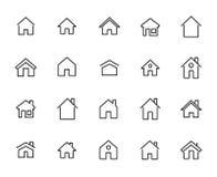 Collection simple de la ligne relative à la maison icônes illustration libre de droits