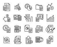 Collection simple de ligne relative de comptabilité icônes illustration de vecteur