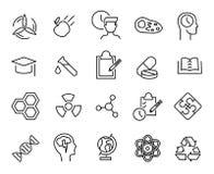 Collection simple de ligne relative icônes de laboratoire illustration stock