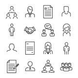 Collection simple de ligne relative icônes de recrutement Image stock