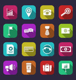 Collection simple flat icons of business and financial items, wi Stock Photos