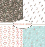 Collection of simple floral patterns. Collection of simple floral retro  patterns Stock Images