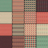 Collection of simple geometric pattern textures. Set of 16 backgrounds. Seamless repeating retro style texture set. Stock Image