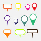 Collection of simple gray map markers. Vector illustration in flat style Stock Photography